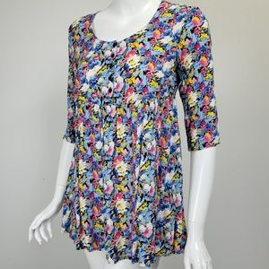 Free People Floral Print Tunic Top